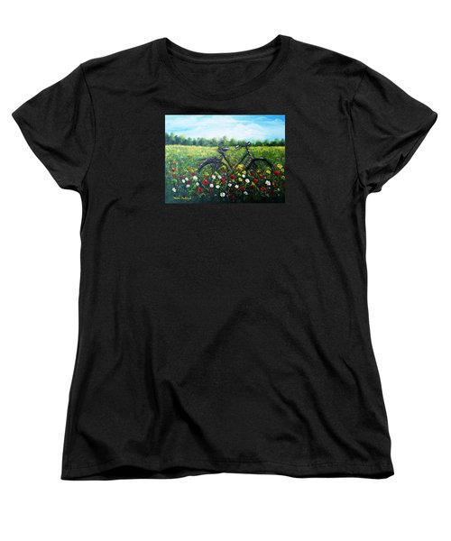Women's T-Shirt (Standard Cut) featuring the painting Romantic Break by Vesna Martinjak