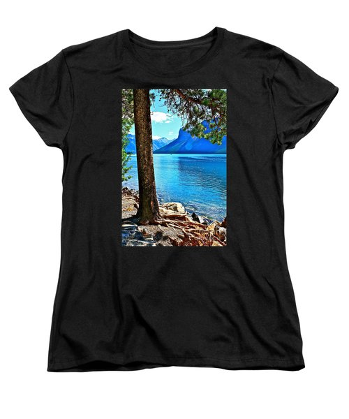 Women's T-Shirt (Standard Cut) featuring the photograph Rooted In Lake Minnewanka by Linda Bianic