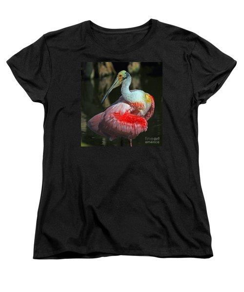 Roseate Preening Women's T-Shirt (Standard Cut) by Larry Nieland