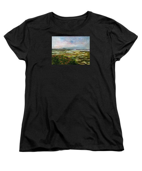 Women's T-Shirt (Standard Cut) featuring the painting Roses Over The Marsh by Michael Helfen
