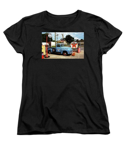 Route 66 - Gas Station With Watercolor Effect Women's T-Shirt (Standard Cut)