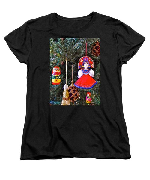 Russian Christmas Tree Decoration In Fredrick Meijer Gardens And Sculpture Park In Grand Rapids-mi Women's T-Shirt (Standard Cut) by Ruth Hager
