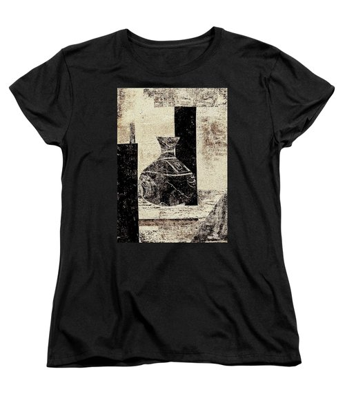 Rustic Vase Black And White Women's T-Shirt (Standard Cut) by Patricia Cleasby