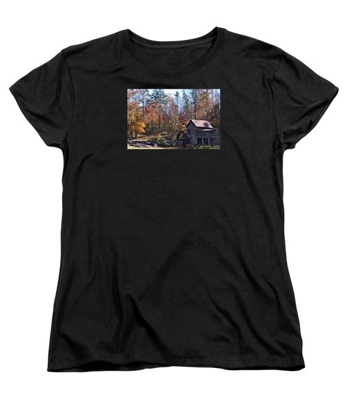 Women's T-Shirt (Standard Cut) featuring the photograph Rustic Water Mill In Autumn by William Tanneberger