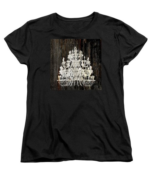 Women's T-Shirt (Standard Cut) featuring the photograph Rustic Shabby Chic White Chandelier On Wood by Suzanne Powers