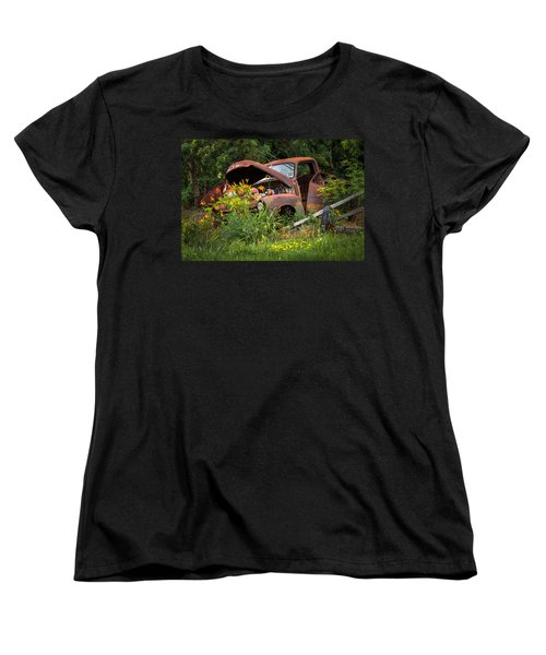 Women's T-Shirt (Standard Cut) featuring the photograph Rusty Truck Flower Bed - Charming Rustic Country by Gary Heller