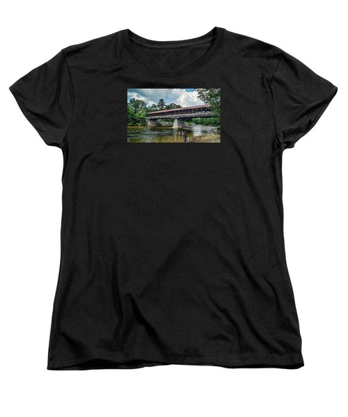 Women's T-Shirt (Standard Cut) featuring the photograph Saco River Covered Bridge  by Debbie Green