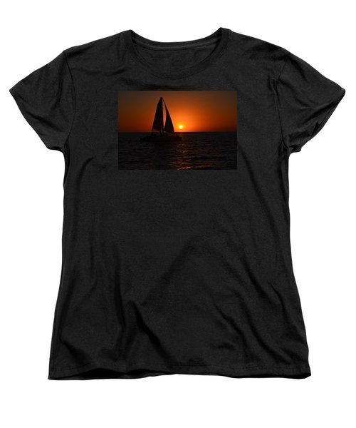 Sailboat Sunset Women's T-Shirt (Standard Cut) by James Petersen