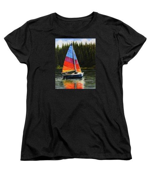 Sailing On Flathead Women's T-Shirt (Standard Cut) by Kim Lockman