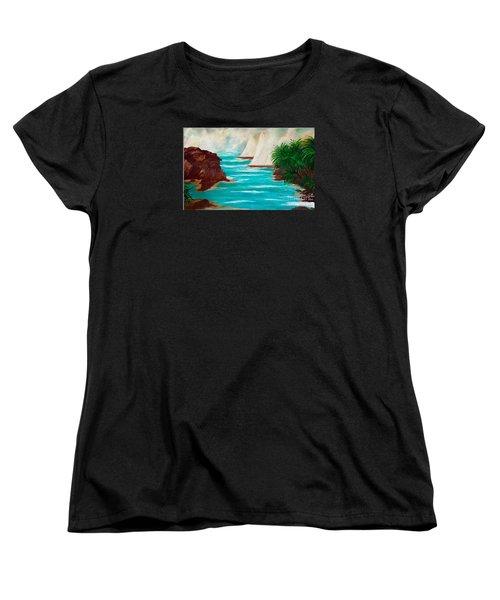Sailing The Coast Of California Women's T-Shirt (Standard Cut) by Sherri's Of Palm Springs