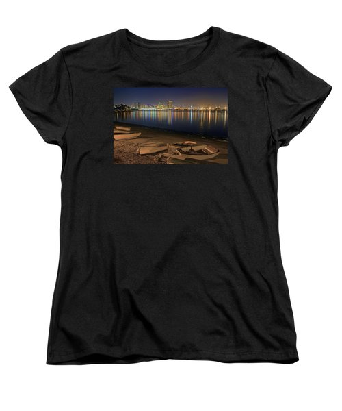 Women's T-Shirt (Standard Cut) featuring the photograph San Diego Harbor Lights by Gary Holmes