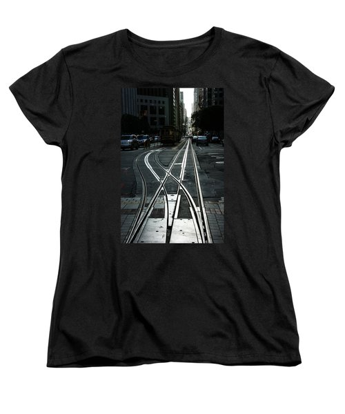 Women's T-Shirt (Standard Cut) featuring the photograph San Francisco Silver Cable Car Tracks by Georgia Mizuleva