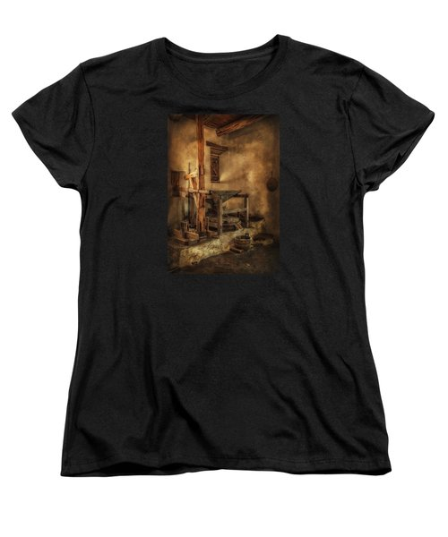 Women's T-Shirt (Standard Cut) featuring the photograph San Jose Mission Mill by Priscilla Burgers
