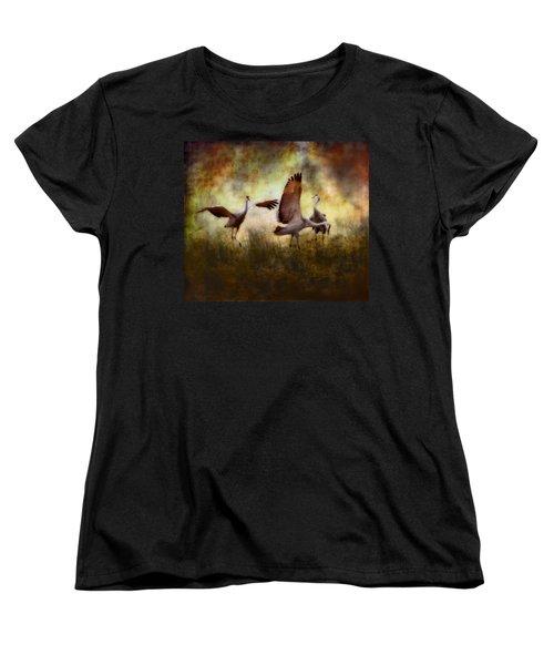 Sandhill Cranes  Women's T-Shirt (Standard Cut) by Ellen Heaverlo