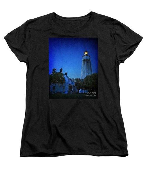 Women's T-Shirt (Standard Cut) featuring the photograph Sandy Hook Lighthouse At Twilight by Debra Fedchin