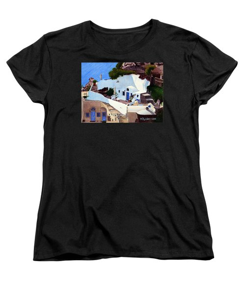 Santorini Cave Homes Women's T-Shirt (Standard Cut) by Mike Robles