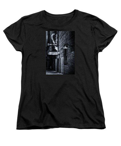 Scat Lounge In Cool Black And White Women's T-Shirt (Standard Cut) by Joan Carroll