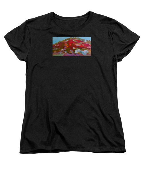 Women's T-Shirt (Standard Cut) featuring the painting Schoodic Trail Blueberry Hill by Francine Frank