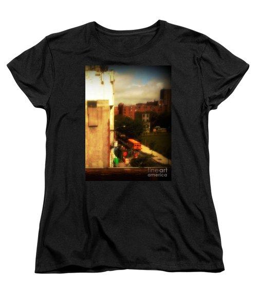 School Bus - New York City Street Scene Women's T-Shirt (Standard Cut) by Miriam Danar