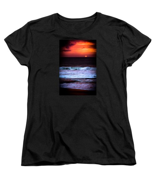 Sea Foam Under Fire Sky Women's T-Shirt (Standard Cut) by Edgar Laureano