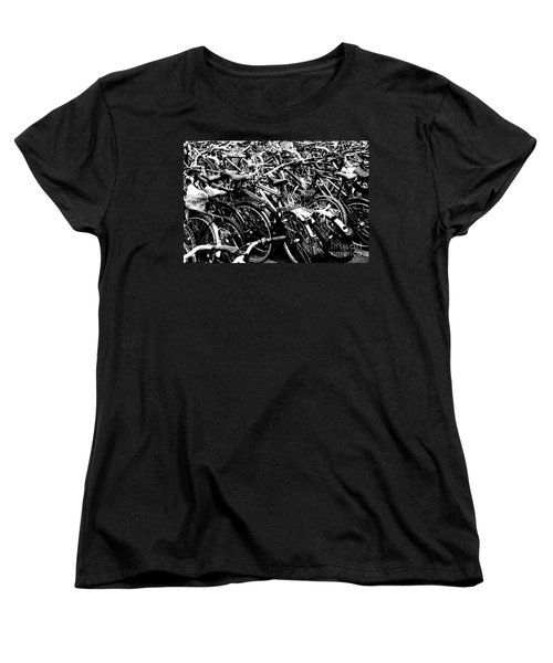 Women's T-Shirt (Standard Cut) featuring the photograph Sea Of Bicycles 2 by Joey Agbayani