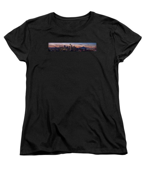 Seattle Cityscape Morning Light Women's T-Shirt (Standard Cut) by Mike Reid