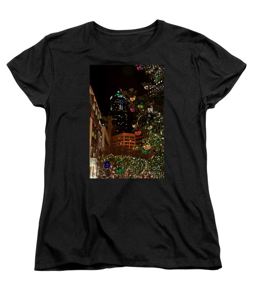 Women's T-Shirt (Standard Cut) featuring the photograph Seattle Downtown Christmas Time Art Prints by Valerie Garner