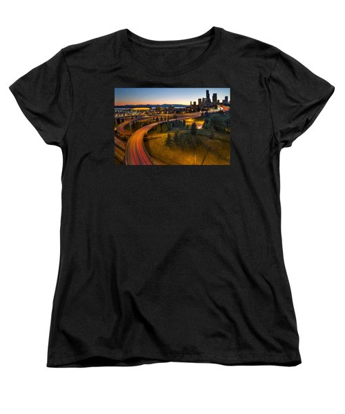 Women's T-Shirt (Standard Cut) featuring the photograph Seattle Downtown Highway Traffic Light Trails by JPLDesigns