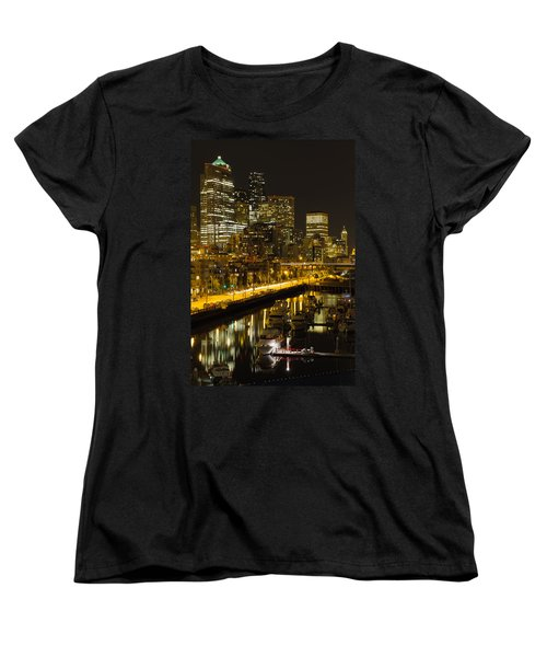 Women's T-Shirt (Standard Cut) featuring the photograph Seattle Downtown Waterfront Skyline At Night by JPLDesigns