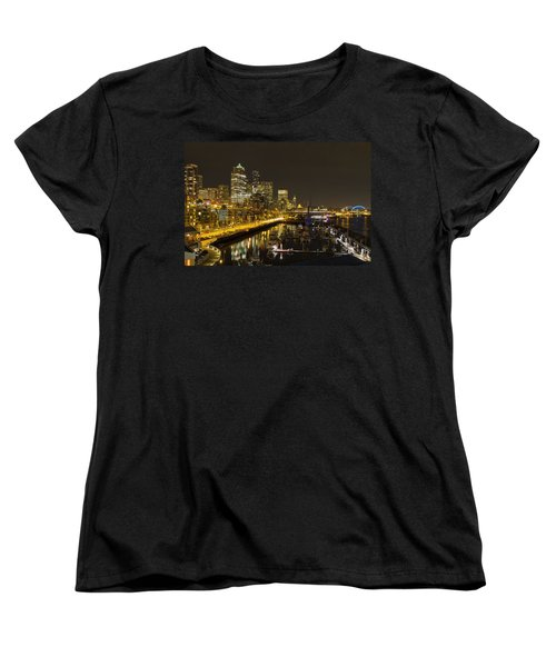 Women's T-Shirt (Standard Cut) featuring the photograph Seattle Downtown Waterfront Skyline At Night Reflection by JPLDesigns