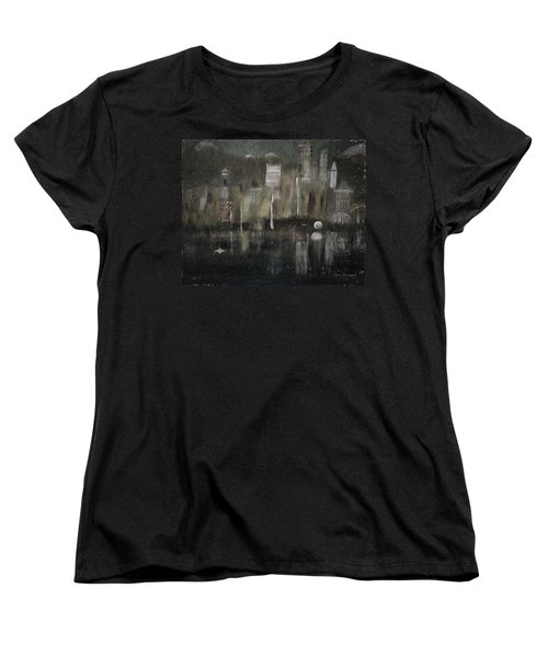 Seattle In The Rain Cityscape Women's T-Shirt (Standard Cut) by Dick Bourgault