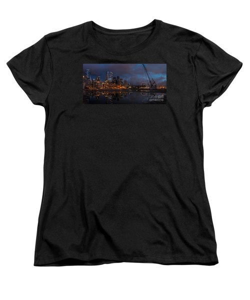 Seattle Night Skyline Women's T-Shirt (Standard Cut) by Mike Reid