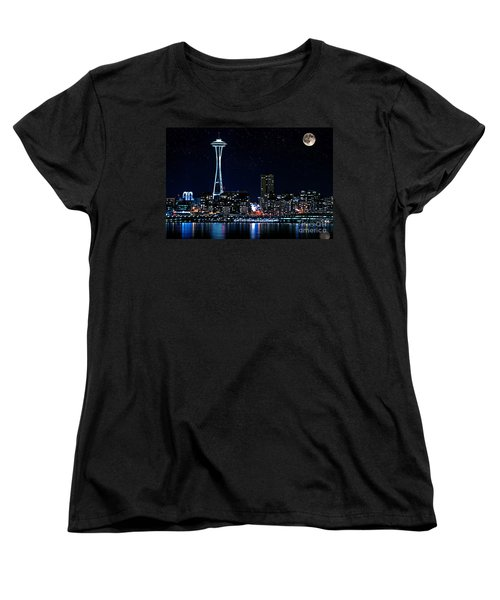 Women's T-Shirt (Standard Cut) featuring the photograph Seattle Skyline At Night With Full Moon by Valerie Garner