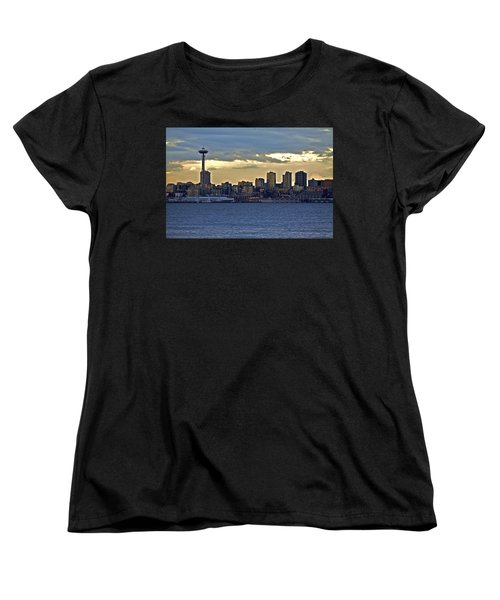 Seattle Skyline In Twilight Women's T-Shirt (Standard Cut)