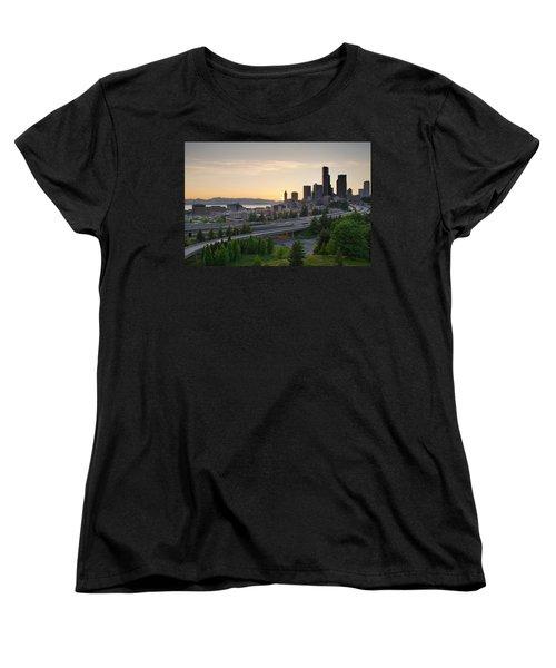 Women's T-Shirt (Standard Cut) featuring the photograph Seattle Washington Downtown City Sunset by JPLDesigns