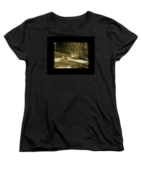 Women's T-Shirt (Standard Cut) featuring the photograph Sepia - Country Road First Snow by Absinthe Art By Michelle LeAnn Scott