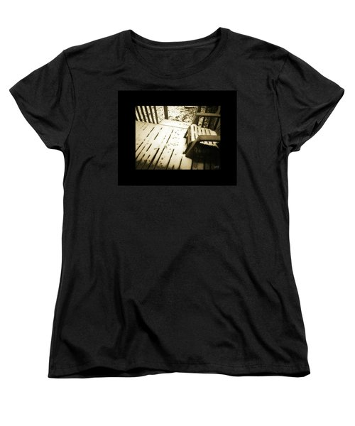 Women's T-Shirt (Standard Cut) featuring the photograph Sepia - Nature Paws In The Snow by Absinthe Art By Michelle LeAnn Scott