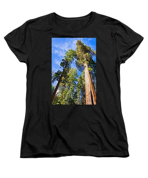 Sequoias Reaching To The Clouds In Mariposa Grove In Yosemite National Park-california Women's T-Shirt (Standard Cut) by Ruth Hager