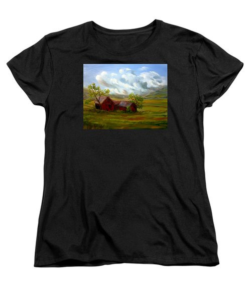 Women's T-Shirt (Standard Cut) featuring the painting Shelter From The Storm by Meaghan Troup