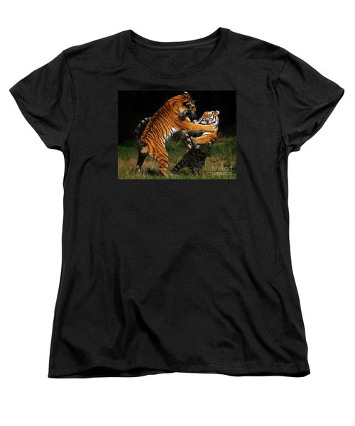 Siberian Tigers In Fight Women's T-Shirt (Standard Cut) by Nick  Biemans