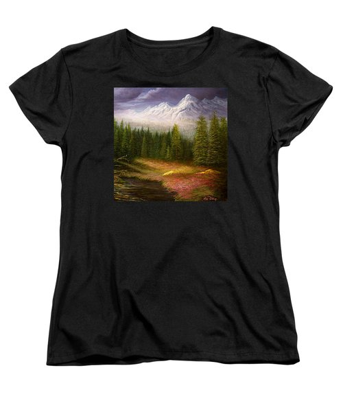 Women's T-Shirt (Standard Cut) featuring the painting Sierra Spring Storm by Loxi Sibley