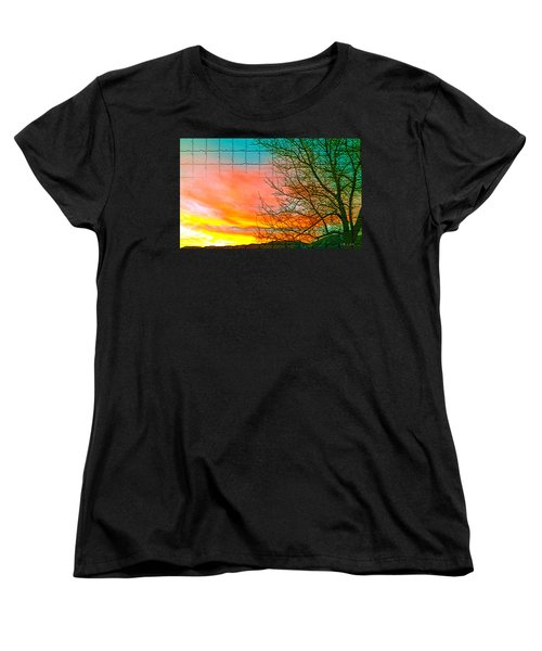 Sierra Sunset Cubed Women's T-Shirt (Standard Cut) by Mayhem Mediums