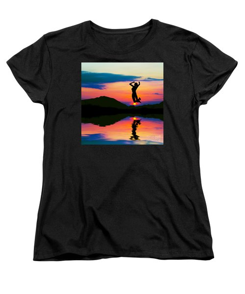 Silhouette Of Happy Woman Jumping At Sunset Women's T-Shirt (Standard Cut) by Michal Bednarek