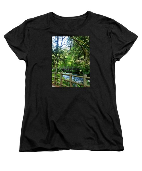Women's T-Shirt (Standard Cut) featuring the photograph Silver Falls Stream by VLee Watson