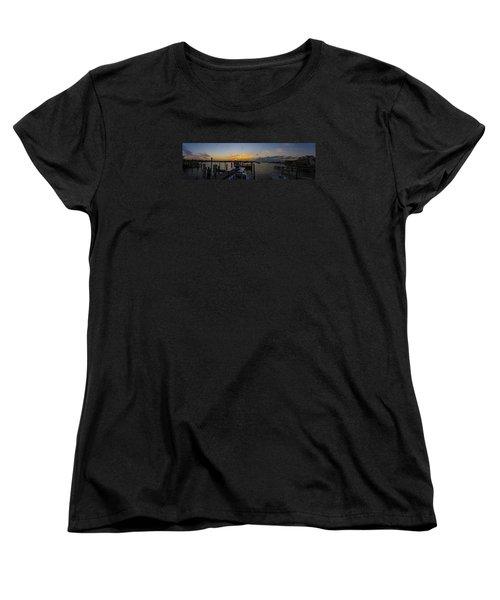Silver Lake Sunset Panorama Women's T-Shirt (Standard Cut) by Greg Reed