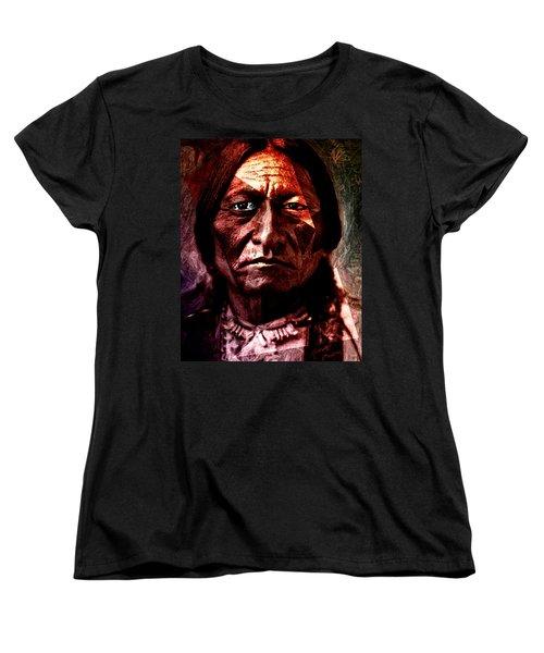 Women's T-Shirt (Standard Cut) featuring the painting Sitting Bull - Warrior - Medicine Man by Hartmut Jager