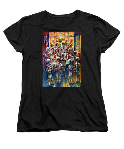 Women's T-Shirt (Standard Cut) featuring the painting Skeleton Wine Party by Heather Calderon