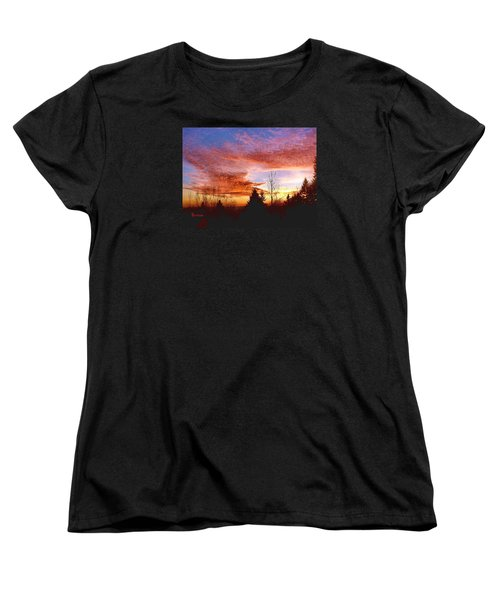 Women's T-Shirt (Standard Cut) featuring the photograph Skies Ablaze by Sadie Reneau