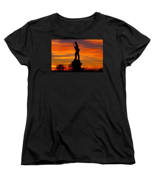 Women's T-Shirt (Standard Cut) featuring the photograph Sky Fire - 128th Pennsylvania Volunteer Infantry A1 Cornfield Avenue Sunset Antietam by Michael Mazaika