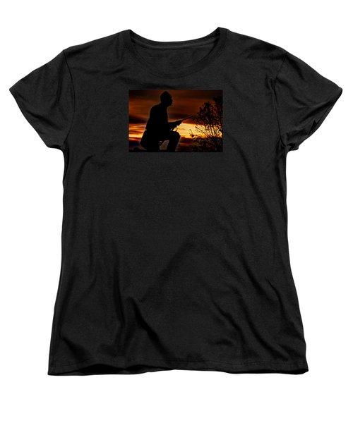 Women's T-Shirt (Standard Cut) featuring the photograph Sky Fire - 1st Pa Cavalry Regiment-a1 Cemetery Ridge Near Copse Of Trees Dawn Autumn Gettysburg by Michael Mazaika